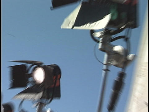 Spotlights stand in a row Stock Video Footage