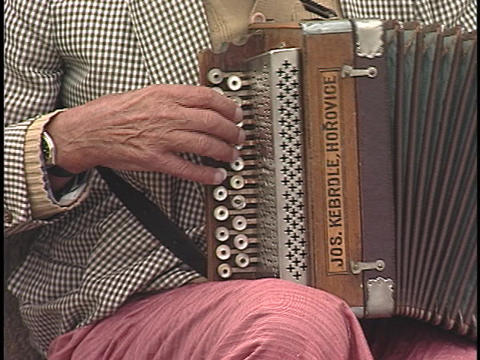 A musician plays an accordion Stock Video Footage