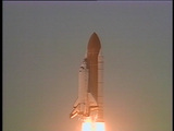 The space shuttle lifts off from the launch pad Footage
