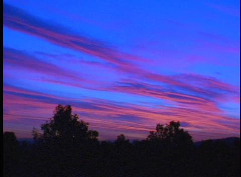 A beautiful pan of a deep blue dusk sky at sunset Stock Video Footage