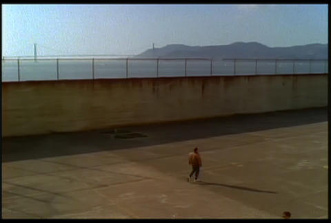 View of a courtyard at Alcatraz prison with Golden Stock Video Footage
