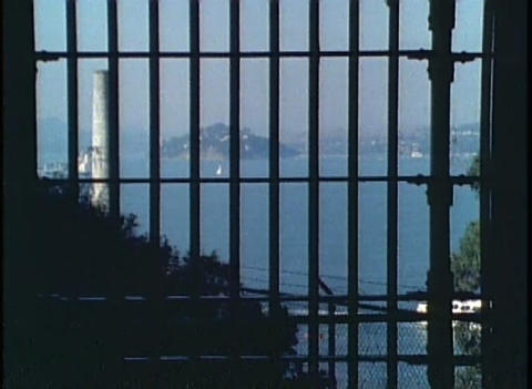 Shot through Alcatraz prison bars of San Francisco Footage