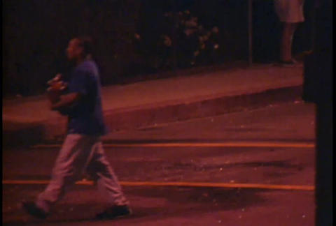 Looters at night on the streets of LA during the L Stock Video Footage
