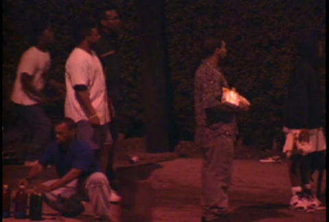 Looters at night on the streets of LA during the L Footage