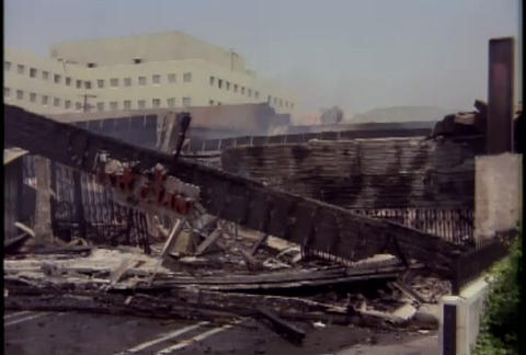 Massive destruction during the LA riots in 1992 Stock Video Footage