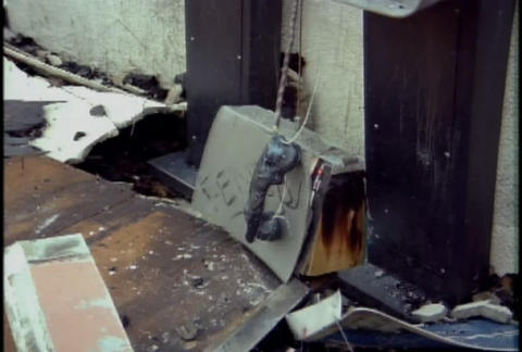 Burned out phone boxes during the LA riots in 1992 Footage