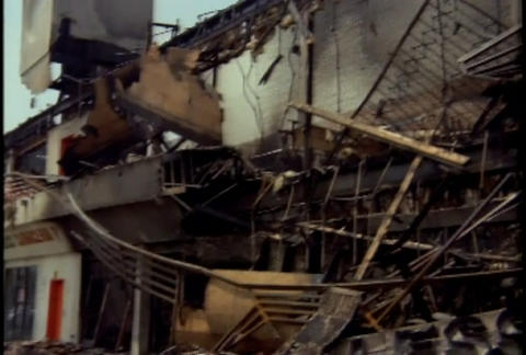 Burned out buildings in a strip mall during the LA Footage