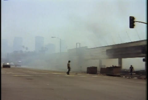 Burned out buildings during the LA riots in 1992 Footage