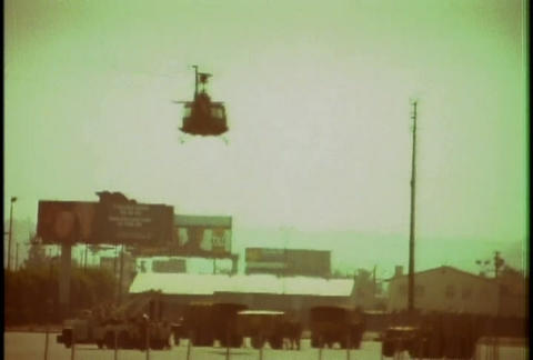 Police helicopters respond during the LA riots in  Footage