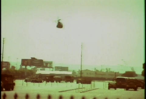 Police helicopters respond during the LA riots in Stock Video Footage
