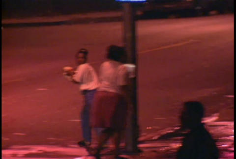 People loot businesses at night during the LA riot Stock Video Footage