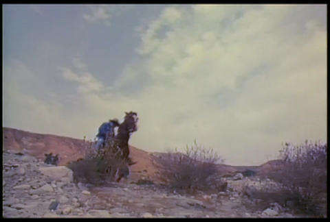 Cowboys ride their horses fast across the desert Stock Video Footage
