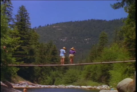 A couple stands on a rope swinging bridge over a r Footage