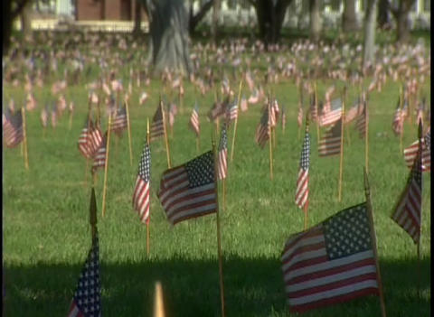 Hundreds of graves in a military cemetery Stock Video Footage