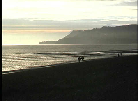 Silhouetted couples share a walk along an ocean beach at golden-hour Footage