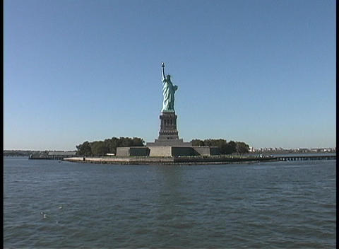 The Statue of Liberty stands in New York's harbor Footage