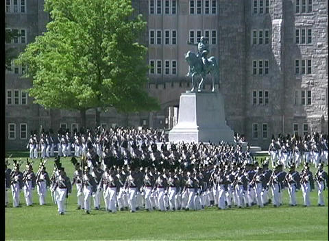 Cadets at West Point march in full military dress uniform Stock Video Footage