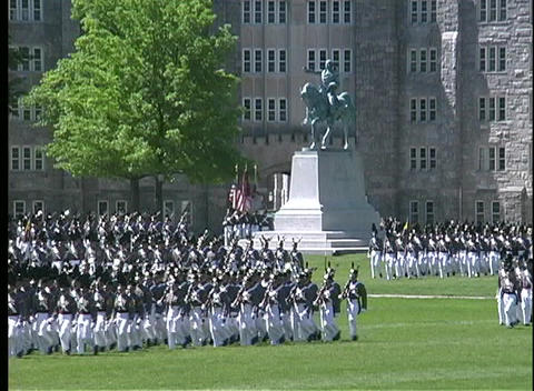 Cadets at West Point march in full military dress uniform Footage