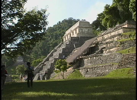 The Temple of Inscriptions, a Mayan Temple in Palenque,... Stock Video Footage