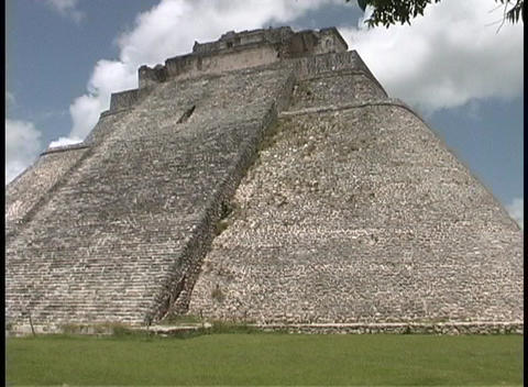 The Pyramid of the Magician belongs to the Uxmal pyramids... Stock Video Footage