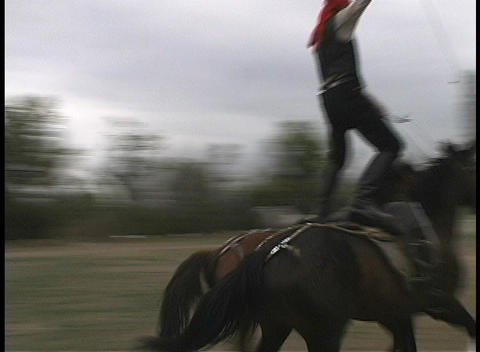 A man balances on two galloping horses as they run down a dirt road Footage