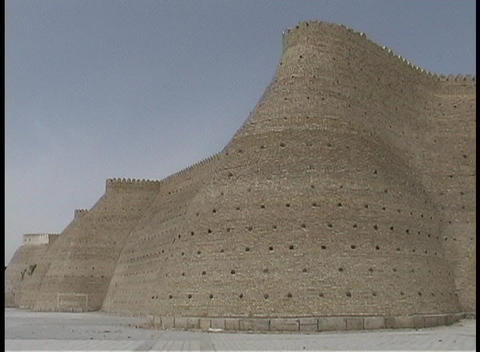 The ancient palace of the Emir adorns the blue sky in... Stock Video Footage