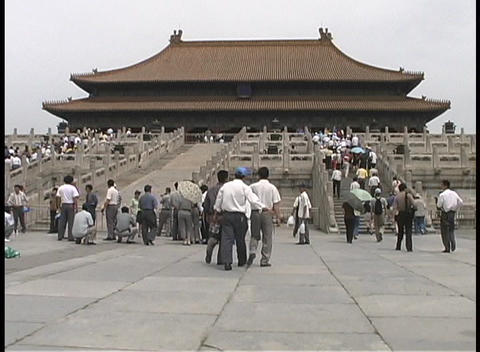 People visit the ancient Imperial Palace of Tiananmen Square Stock Video Footage