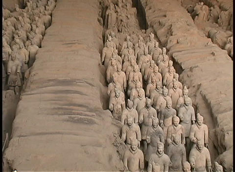 Terracotta soldiers adorn a mausoleum made by Emperor Qin Shi Huang Footage