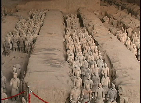 Terracotta soldiers adorn a mausoleum made by Emperor Qin... Stock Video Footage