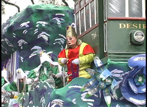"A Mardi Gras float contains a streetcar called Desire""... Stock Video Footage"