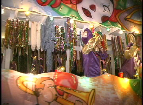 A colorful, flashing float with costumed characters... Stock Video Footage