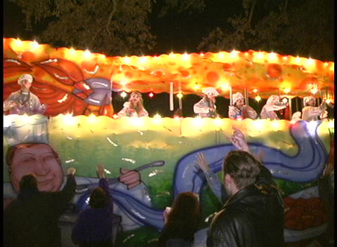 A colorful Mardi Gras float has a variety of foods... Stock Video Footage