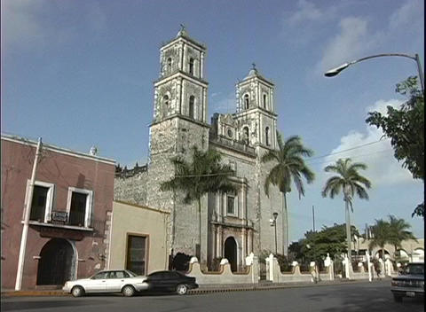 A mission-style Catholic church is featured in this clip of Yalladolid, Mexico Footage