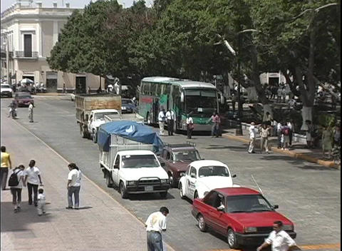 A street scene in Merida, Mexico with just the edge of... Stock Video Footage