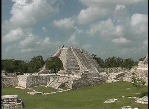 The camera zooms in on an ancient Mayan pyramid in Tulum, Mexico Footage