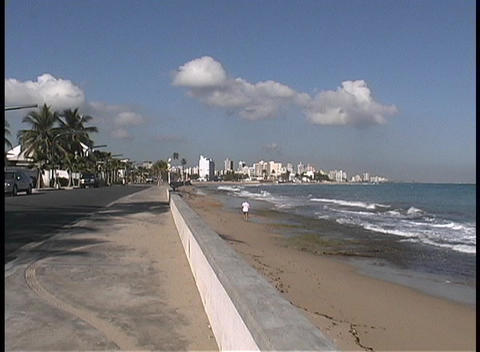 A view of the San Juan Puerto Rico skyline and coast Stock Video Footage