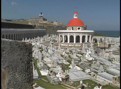 The San Juan cemetery is seen from the top of el Moro Fort Footage