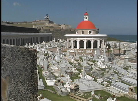 The San Juan cemetery is seen from the top of el Moro Fort Stock Video Footage