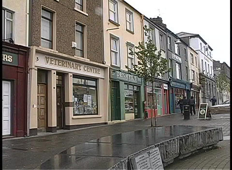 Medium shot of a small village in Ireland during a rain... Stock Video Footage