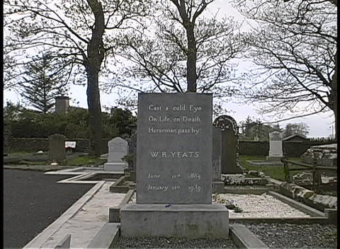 William Butler Yeats' tomb marker adorns a cemetery in... Stock Video Footage