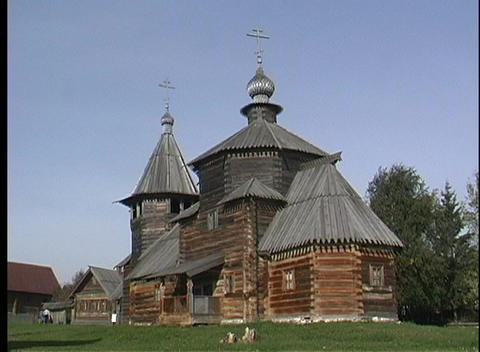 This older wood church features the double crosses of... Stock Video Footage