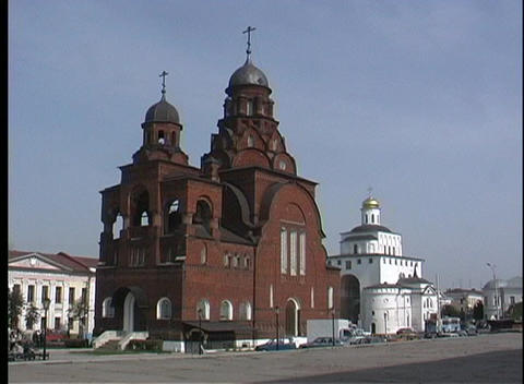 The Dark Brickwork Of The Vladimir-church In Russia Makes A Sharp Contrast Against The Blue Sky stock footage