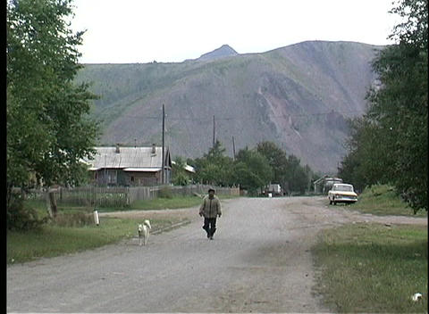 A man and his dog walk down a country road near a village... Stock Video Footage