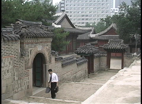 A young man carrying a brief case walks past the Doeksugnung Palace in Seoul, South Korea Footage
