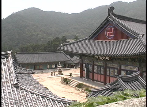 The Haeinsa Buddhist Monastery adorns the hillside in... Stock Video Footage