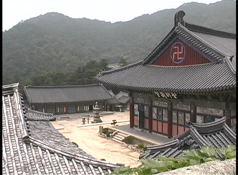 The Haeinsa Buddhist Monastery adorns the hillside in South Korea Footage