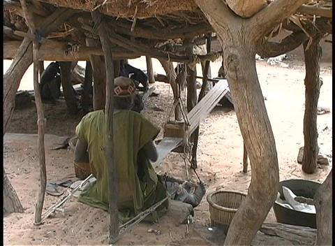 male African weavers work their looms in the shade provided by tree roots Footage