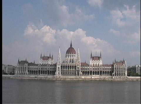 A Long-shot, Across Water, Of The Parliament Building In Budapest, Hungary stock footage