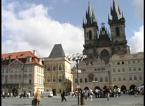 Pan of the historic Old Town Square in Prague Stock Video Footage