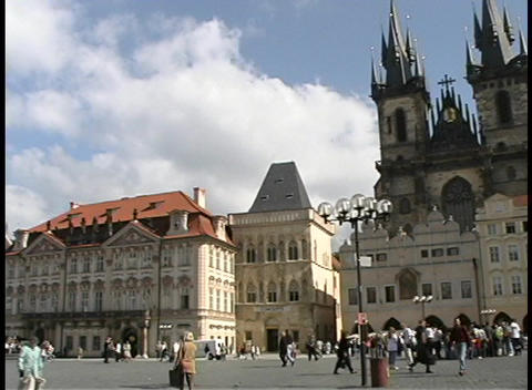 Pan of the historic Old Town Square in Prague Footage
